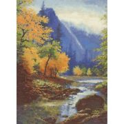 Below Bridal Veil Falls Gold Collection Counted Cross Stitch Kit Candamar New