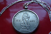 1965 Ussr Russian Warrior Victory Rouble Pendant On A 24 925 Silver Chain