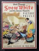 1938 Snow White And The Seven Dwarfs 2 Picture Puzzles Fvf In Vg+ Box Complete