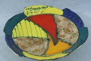 Rare Art Pottery Italian Hand Painted Pottery Clay Patchwork Plate/Bowl Signed