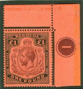 Sg 55a Bermuda 1918-22 Andpound1 Purple And Black On Red. Unmounted Corner Marginal...
