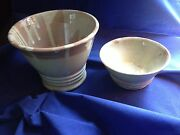 ART POTTERY - 2 GLAZED STONEWARE BOWLS - ARTIST SIGNED - OOAK -NEW