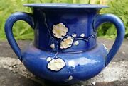 Cobalt Awaji Studio Art Pottery  Arts & Crafts Vase Applied / Relief Blossoms