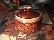 Nice Rare Vintage Mint Hull Pottery Brown Drip Tea Canister