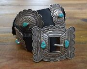 Vintage Navajo C.o. Lee Sterling Silver And Turquoise Concho Belt On Leather