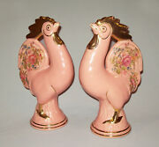 Vtg 1950s Mid Century Pair Large PINK Pottery Chickens Roosters