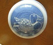 Studio Stoneware Covered Dish Incised Decoration of a Loon Signed 1988 Hamilton