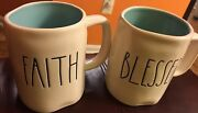 Rae Dunn Blessed And Faith Mugs in Beautiful soft blue color