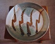 """Signed Large 20"""" Wide Studio Art Pottery Charger by Listed Artist Jim Connell"""