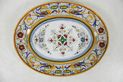 Vintage Hand Painted Dervta Italian Pottery Serving Plate Signed