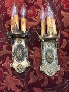 Sconces Three Light Spanish Antique Old Vintage Gothic Castle Three Candle