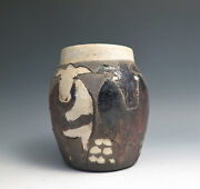 Vintage 1980's Studio RAKU Pottery Vase Incised Cows Design Signed CHF