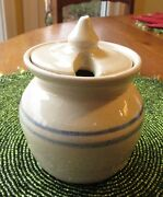 VINTAGE MARSHALL POTTERY HONEY POT WITH THE TRADITIONAL BLUE BANDS
