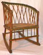 Antique Wicker Rocker Childs Rocking Chair Wood Seat And Runners To Restore Sweet