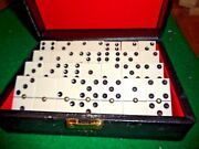 Vintage Bakelite Two Color Double Six Dominoes Set With Spinners Vintage Case