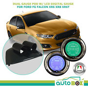 Dual Gauge Pod W/ Lcd Digital Boost And Oil Press Gauges Suits Ford Fg Falcon Xr6t