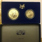 2 Coin Set 1986 Ellis Issland Silver And Half Dollar Us Liberty Coins M7