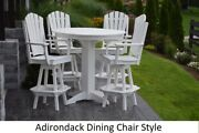 Aandl Furniture Co. Amish-made Poly 5pc Dining Set - Bar Table And Adirondack Chairs