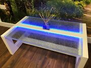 Modern Glass Coffee Table Led Lit Cracked Ice Crackle Glass. Lounge Furniture