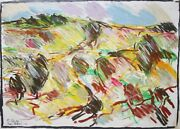 David Ben-shaul-israeli Expressionist-signed Pastel Drawing-abstract Landscape