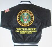 17th Airborne Divison Golden Talons Army Embroidered 2-sided Satin Jacket