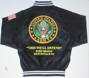 Fort Bragg Fayetteville-nc Army Embroidered 2-sided Satin Jacket