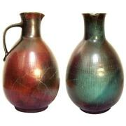 Lovely Antique Handmade Hand Glazed Vase in Green and Wine Colors