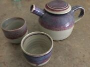 Pottery Handmade Teapot & Two Cups