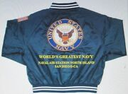 Naval Air Station North Island Navy Anchor Embroidered 2-sided Satin Jacket