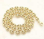 8mm Puffed Mariner Anchor Link Chain Necklace Real 14k Yellow Gold