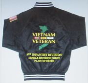 9th Infantry Divisionriverinevietnam Army Embroidered 2-sided Satin Jacket