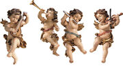 Angels Players For Wall 4 Palying Puttoes - Made In Italy Wood-carved