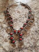 Vintage Sterling Silver And Coral Squash Blossom