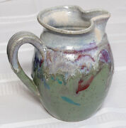 """Hand Crafted Artist Signed Multi Color Drip Glaze Art Pottery Pitcher 7"""" [LC]"""