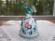 VINTAGE MAJOLICA? CERAMIC ROOSTER BELL * HAND PAINTED * ITALY