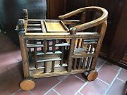 Antique Chinese Kids Wooden Baby Toddler Carriage/feeding Table Rare