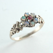 Dainty Victorian Black Opal And Ruby Ring 14k Yellow Gold Size 5