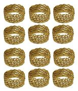 Napkin Rings Woven Brass Wire Table Setting Decor 1.75dia 7/8 Wide Set Of 12