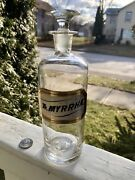 """Pontiled Label Under Glass Apothecary Bottle Andstopper """" Tr.myrrhae """"8.5""""tall"""