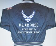 Pope Field Fayetteville-nc Air Force Embroidered 2-sided Satin Jacket