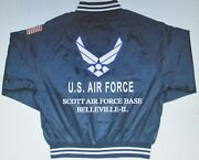 Scott Air Force Base Belleville-il Air Force Embroidered 2-sided Satin Jacket