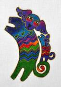 2 Dancing Dogs Mom And Pup Hp Needlepoint Canvas By Laurel Burch From Danji