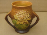 """Roseville Pottery Double Handle Water Lily 71-4"""" Vase Vintage CHIPPED"""