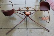Vintage Rare Mobo Childs Ride On Merry Go Round - 1950's Two Seats