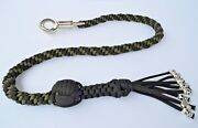 550 Paracord Motorcycle Whip Get Back Whip 1 Ball And Skulls 36 - Green / Black