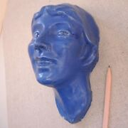 Arts & Crafts Pottery Face Sculpture Matte Blue Wall Bust Mask Art Deco Signed