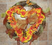 Cupid Valentines Day Roses Monarch Butterfly Heart Grapevine 18 Wreath Vintage