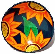 """9.5"""" Bowl Mexican Pottery Hand Painted Yellow Sun Flowers Purple Leaf 3 Footed"""