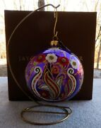 Jay Strongwater Artisan Floral Paisley 4 Purple Glass Ornament New In Box