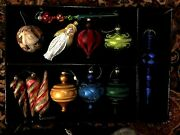 Beautiful - 9 Glass Ornaments Various Collors And Shapes Plus And Angel - Large